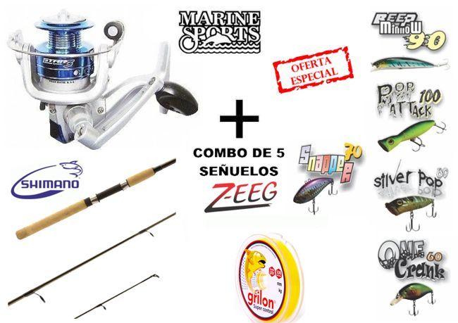Combo de Spinning Shimano + Marine + 5 señuelos Z-EEG