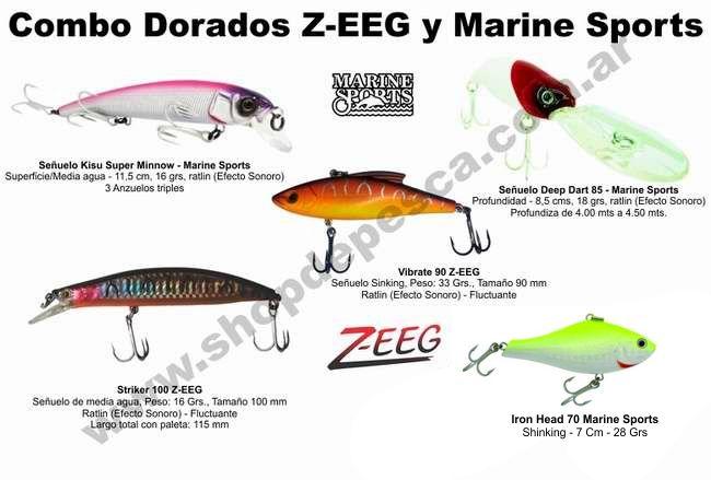 Combo 5 Señuelos Para Dorados  Z-EEG y Marine Sports