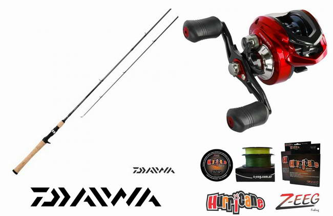 Combo de Baitcasting Daiwa Crossfire 702 MHFB Strikeforce 100 +
