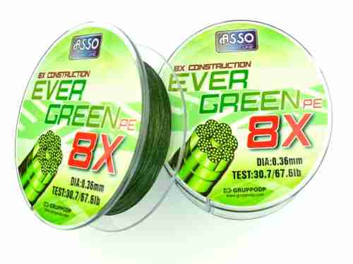 Multifilamento Asso EVER GREEN 8X 0.32 mm - 59,9 Lbs * 130 Mts.